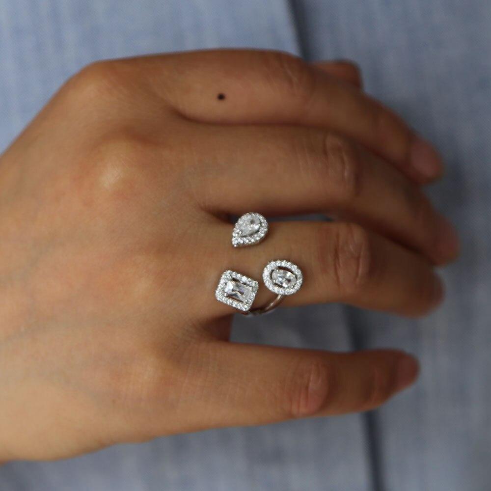 Bagues de mode montrent élégant zircon cubique brillant CZ doigt ouvert bijoux femmes filles blanc argent rempli bague de mariage