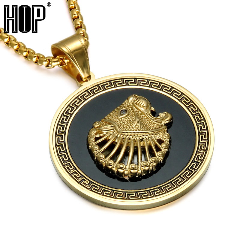 HIP Punk Great Wall Pattern Lion Pendants Necklaces Gold Color Round 316L Stainless Steel Necklace for Men Jewelry