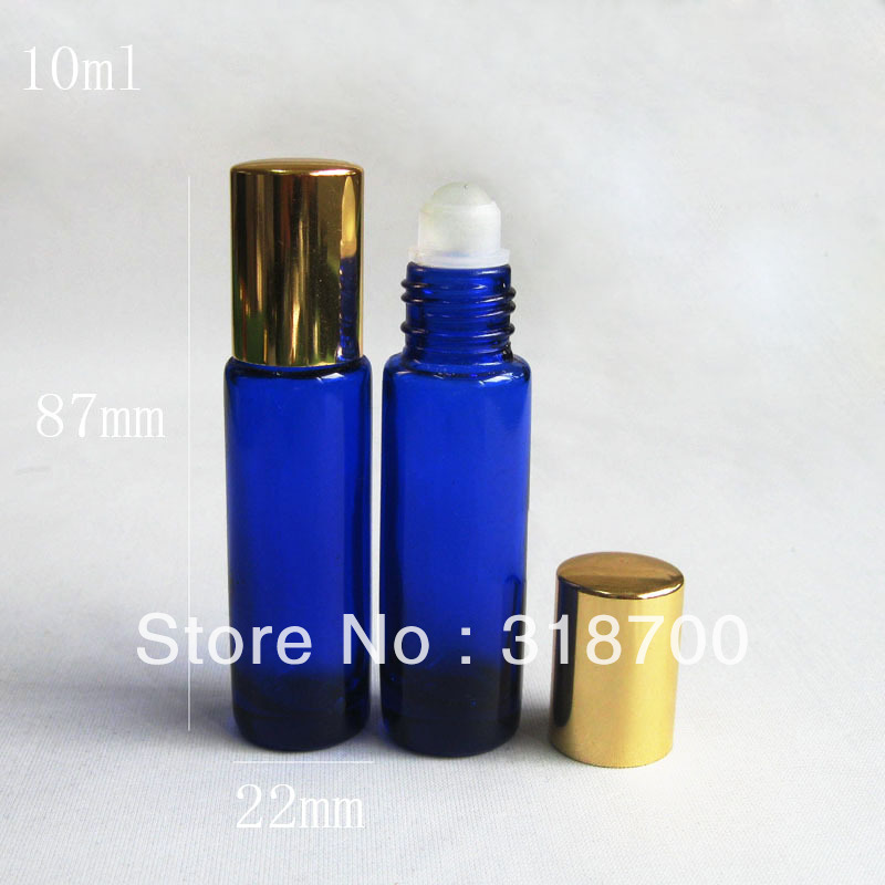 Free shipping High quality 24 lot 10ml blue glass roll on bottle roll on glass bottle