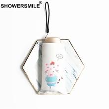 SHOWERSMILE Lightweight Cute Umbrella Rain Women Cartoon Pig Guarda Chuva Mini Pocket Size Small Black Coating Folding