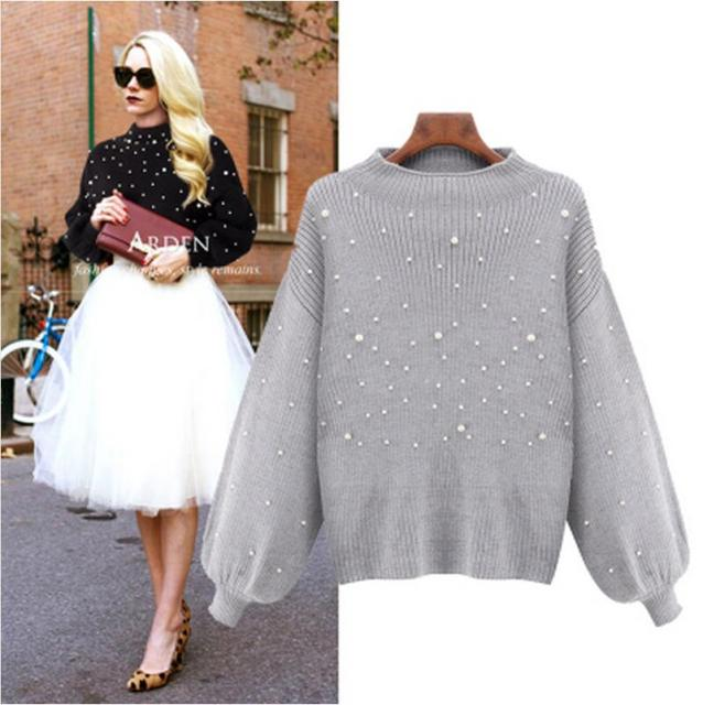 2016 Autumn Winter Women Fashion Loose Stand Collar Pullover Sweater Long-sleeved Casual Plus Size Beaded Knitted Sweater XXXXXL