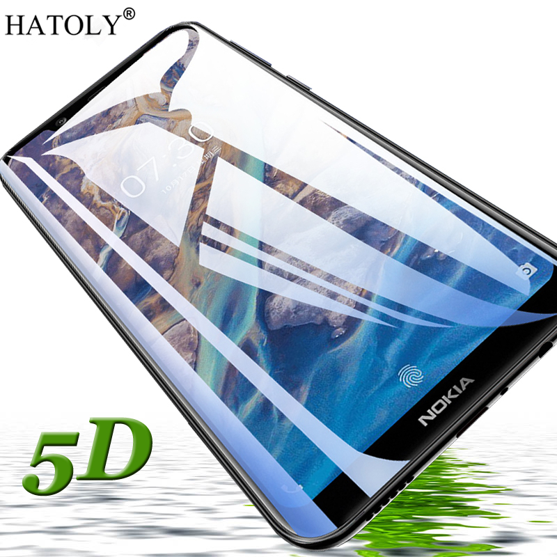 5D Tempered Glass for Nokia 8.1 Glass Film Glue Full Coverage Rounded Edge Glass for Nokia 8.1 Screen Protector For Nokia 8.1