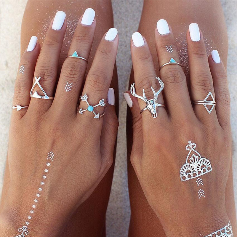 1lot=7pieces Vintage Ethnic Bohemian Boho Ring Elk Deer Arrow Finger Ring Bague Punk Midi Finger Knuckle For Women Nice Gift 1