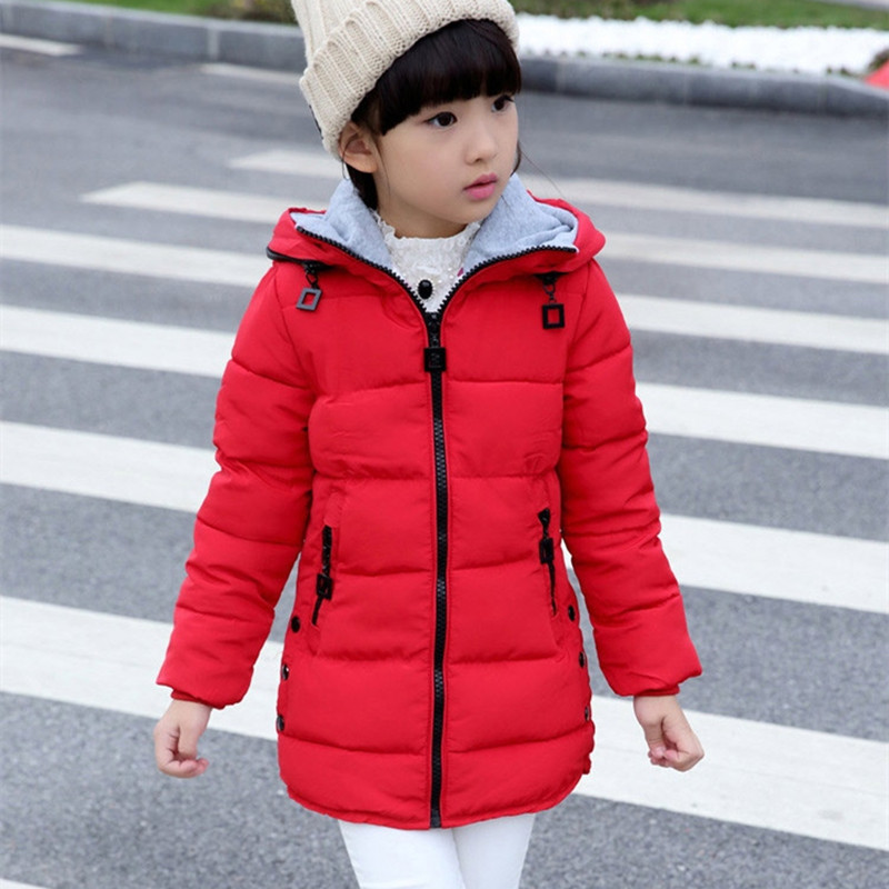 4-13 Years Children Girl Winter Coat Parka Long Outerwear Fashion Zipper Hooded Thick Cotton Solid Jacket Color Red / Black new pure color hooded cotton padded clothing jackets business long thick winter coat men solid parka fashion overcoat outerwear