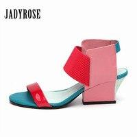 JADY ROSE Cute Pink Women Gladiator Sandals 2018 New Summer 6CM High Heels Valentine Shoes Woman