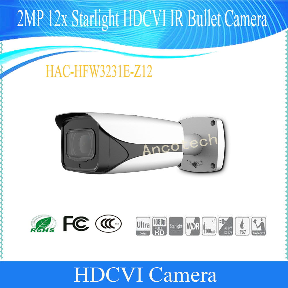 Free Shipping Original DAHUA Security Camera CCTV 2MP 12x Optical Zoom Starlight HDCVI IR Bullet Camera No Logo HAC-HFW3231E-Z12