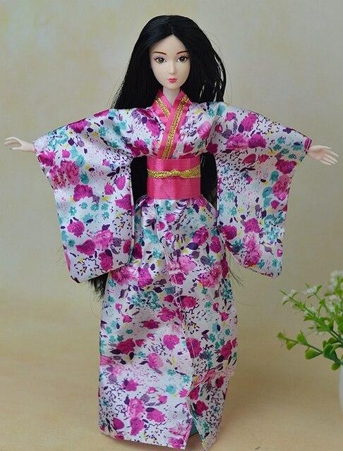 Modis Pakaian Boneka Pakaian Kimono Tradisional Jepang Gaun untuk Boneka  Barbie Pakaian untuk 1 6 46ebd1dbe4