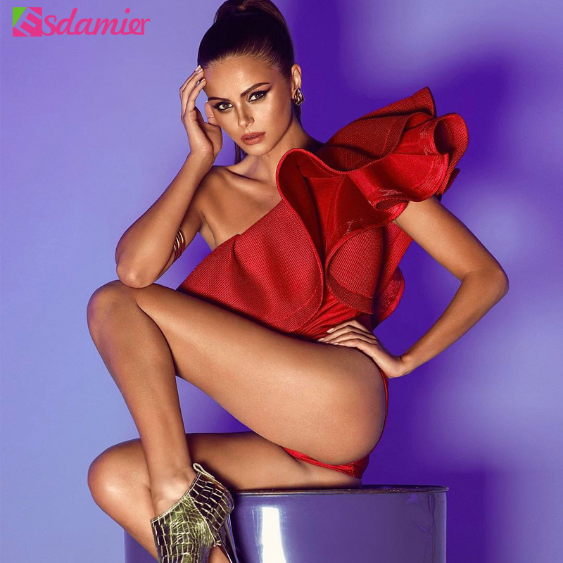 Heißer Verkauf Einer Schulter Rüsche Frauen Körper Sexy Body Top Rot Schwarz Weiß Body Combishort Femme Ein Stück Körper Für frauen
