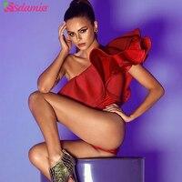 Heißer Verkauf Einer Schulter Rüschen Frauen Körper Sexy Body Top rot Schwarz Weiß Body Combishort Femme Ein Stück Körper Für frauen