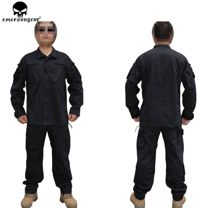 EMERSONGEAR ARMY BDU Combat Uniform Wild Outdoor Suit&pants Black Ghillie Suits Free Shipping EM6904 emersongear g3 combat uniform shirt