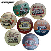 Car Garage Metal Signs Oil Sign Gas Station Plaques Round Living Room Decorative Plates Vintage Home