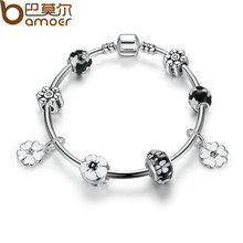 BAMOER 2016 New Simple Vintage Bracelets Silver Plated Pendant Bracelets with Black Flower Beads Girl Bracelet Jewelry PA3804