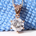 Queen Brilliance Solid 18K 750 Rose Gold 1 Carat ct F Color Lab Grown Moissanite Diamond Pendant Necklace For Women
