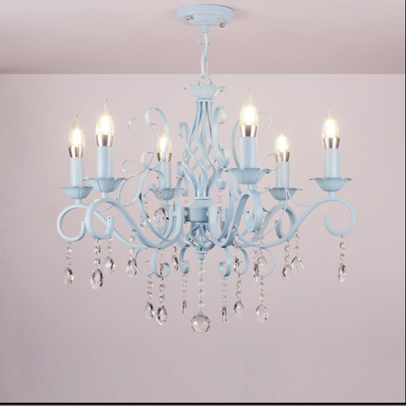 Crystal chandelier living room lamp pastoral Mediterranean bedroom restaurant Candle Chandelier blue European Princess lamp