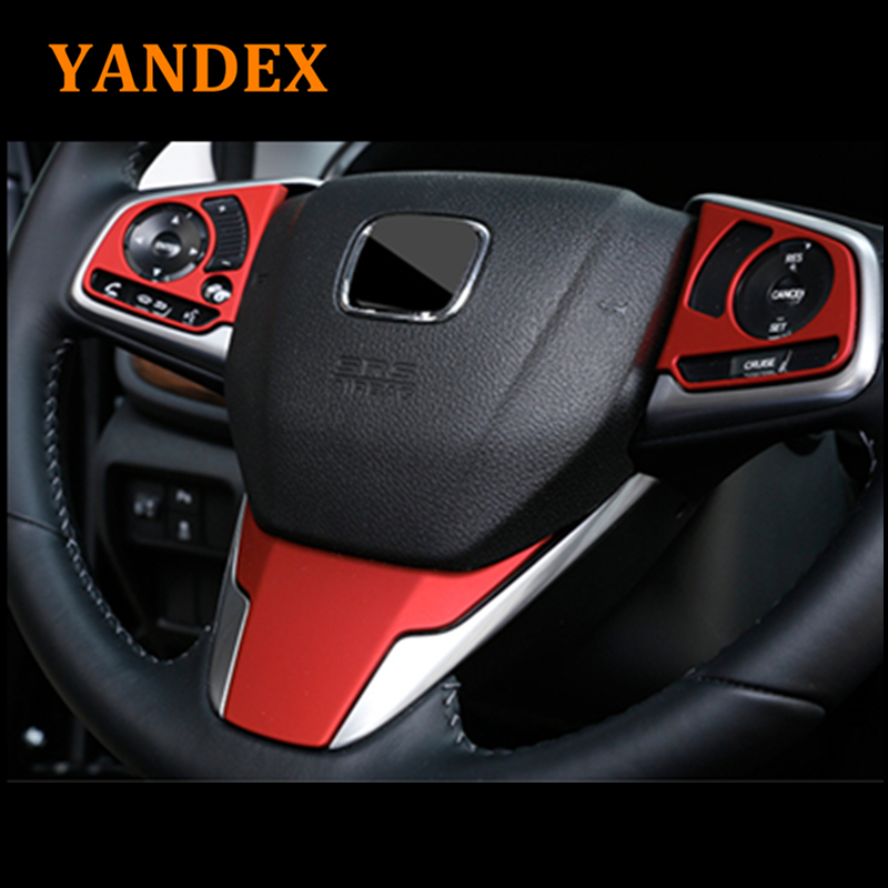 YANDEX Steering wheel moulding sequins Red colour ABS Chrome decoration cover 3pcs for Honda 2017 2018 CRV accessories