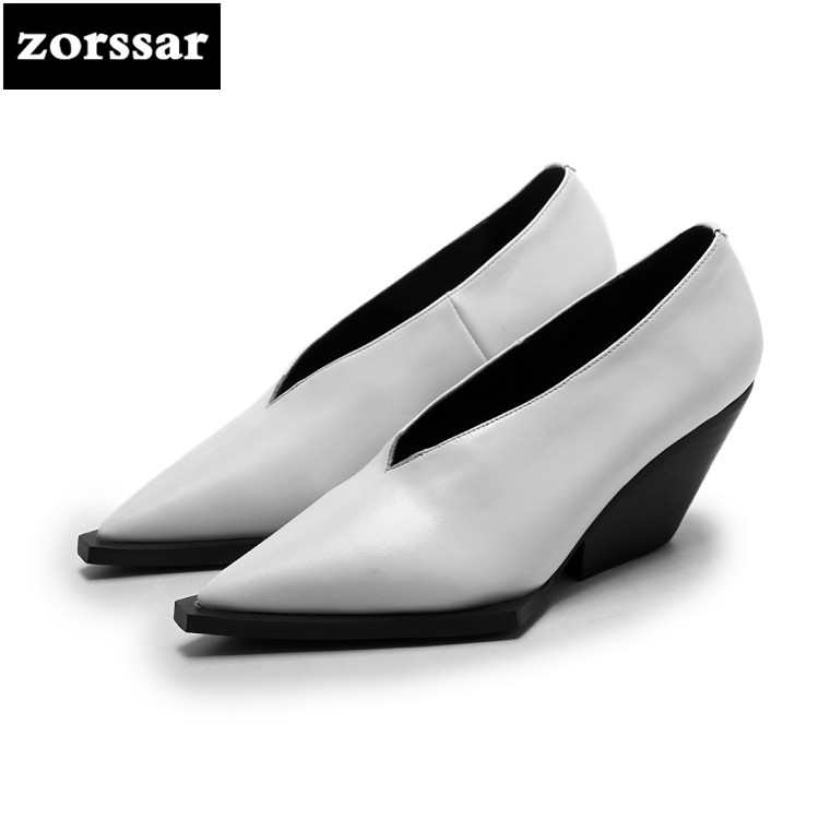 {Zorssar} 2018 NEW Genuine Leather womens shoes heels pumps Slip-on pointed toe Wedges High heels fashion women dress shoes 2017 new women s genuine leather pumps female casual shoes sexy lady medium heels fashion high wedges platform flower slip on