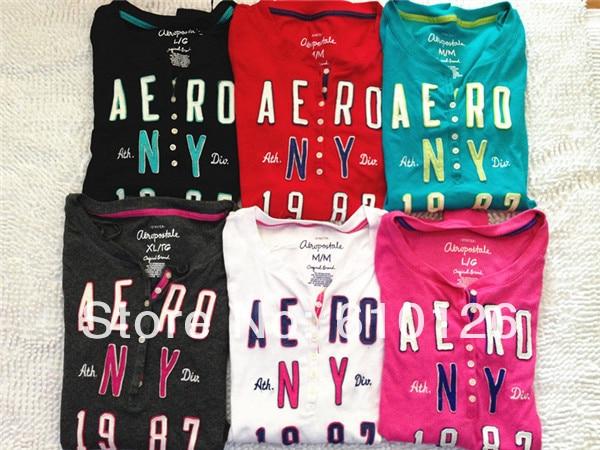 72b14b69 2014 FreeShipping NewArrival HotSale High Quality female fashion cotton ' aeropostale' casual O neck Colorful long sleeve t-shirt