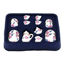 15Pcs/set 1/12 Doll House Miniature Dining Ware Porcelain Tea Set Dish Cup Plate Flower Print Free Shipping