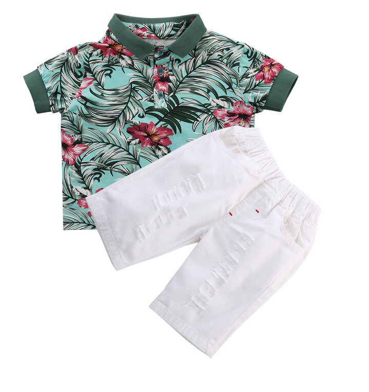 >Summer Children Kids Boy Clothes Set Flower Print Polo shirt Tops+<font><b>White</b></font> Ripped Pants <font><b>Jeans</b></font> <font><b>Outfits</b></font> Set 2pcs Suit Clothing