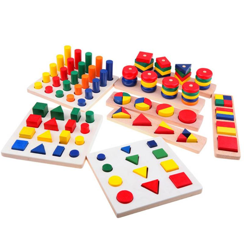8pcs/set Wooden Geometric Sorting Board Kids Montessori Early Educational Learning 3D Puzzle Wood Teaching Aids Child Gift