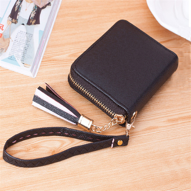 2016 Fashion Women Coin Purse Pu Leather Solid Color Multi - card Short Ladies Zipper Wallet Small Women Money Bag Handbag Moned