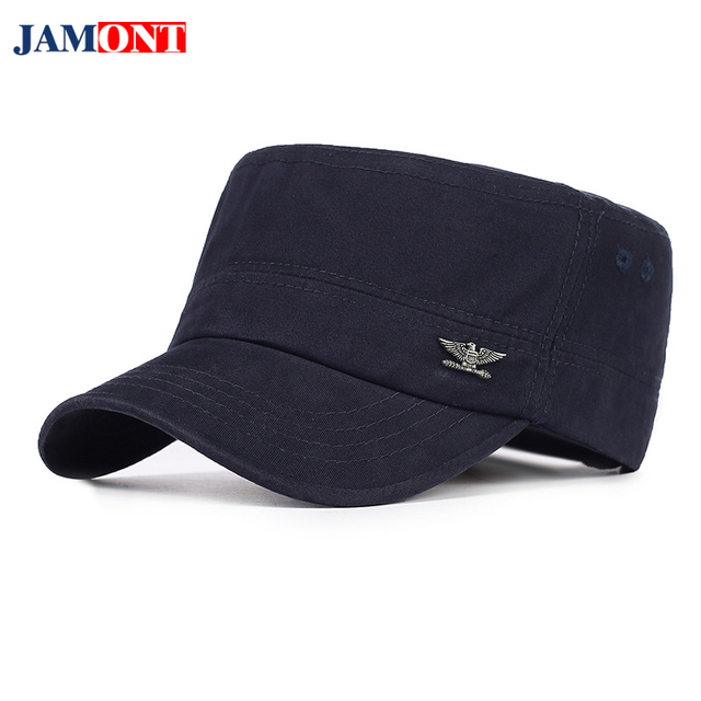 8ffb8dab 2018 Military Cap Spring Autumn Warm Hat Men Military Hats Men's Army Cap  Flat Top Cotton Military Army Hats Cap Man Hat