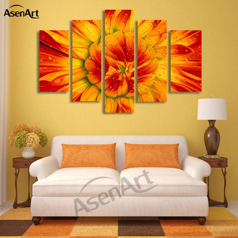 5 Panel Wall Art Bud Sunflower Painting Modern Floral Paintings for ...