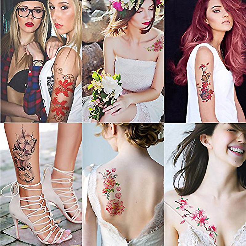 Sexy romantic dark rose flowers fake body art flash tattoo sleeve 1
