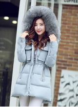 Winter Jacket Women Slim Fur Collar Thickening Coat 2016 Fashion Hood Medium-long Duck Down Parka Outwear Overcoat wt0010