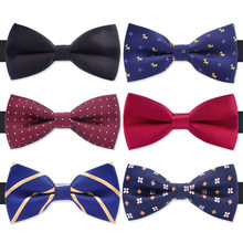 f274490b028f New fashion tuxedo bow tie men red and black tartan groom marry groomsmen  wedding party colorful striped butterfly cravats mens