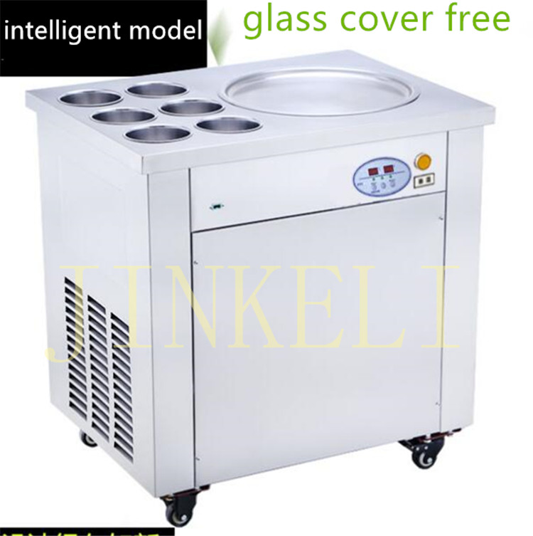 2017 New arrival brand compressor  Fry ice pan machine,fried ice cream roll machine,thai ice cream machine with glass cover 2017 ce approved thai style fried ice cream roll machine single pan fry ice machine fast cooling ice pan machine with dust cover