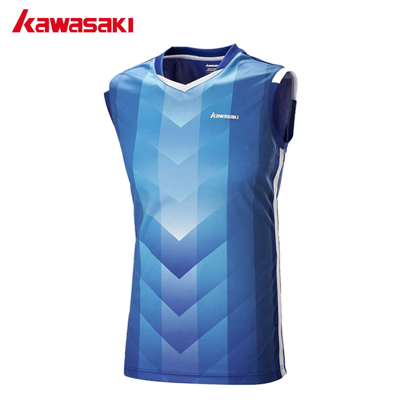 KAWASAKI Summer Sleeveless Quick Dry Fitness T-Shirt Comfort Mens Tennis T Shirts Running Badminton Shirt Gym Clothes ST-171015