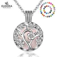 Eudora 18mm Plated Silver Harmony Bola Ball Peach Tree Locket Cage Pendant fit DIY Chime Ball Necklace Jewelry For Women K307N18
