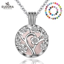 Eudora 18mm fashion Harmony Bola Ball Peach Tree Locket Cage Pendant fit Chime Ball sound Necklace Jewelry For Women K307N18