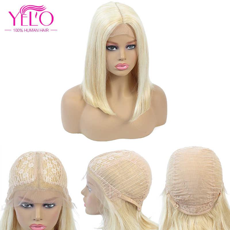 613 #/натуральный цвет короткий парик-Боб 8-14 дюймов YELO бразильский Remy прямой Средний часть 613 Blone человеческих волос парик для черных женщин