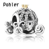 Cô bé lọ lem Pumpkin Cubic Zirconia 925 Sterling Silver Charm Và Bạc Châu Âu Hạt Fit Pohier Lắc & Vòng SP00163
