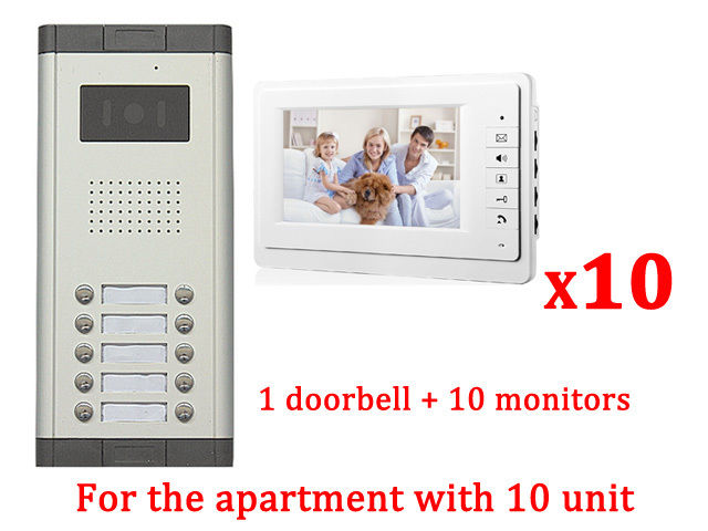 Apartment 10 Unit Intercom Entry System Wired Video Door Phone Audio Visual pager wireless calling system restaurant guest paging system 1 pcs display receiver 22 table bells call button customer service