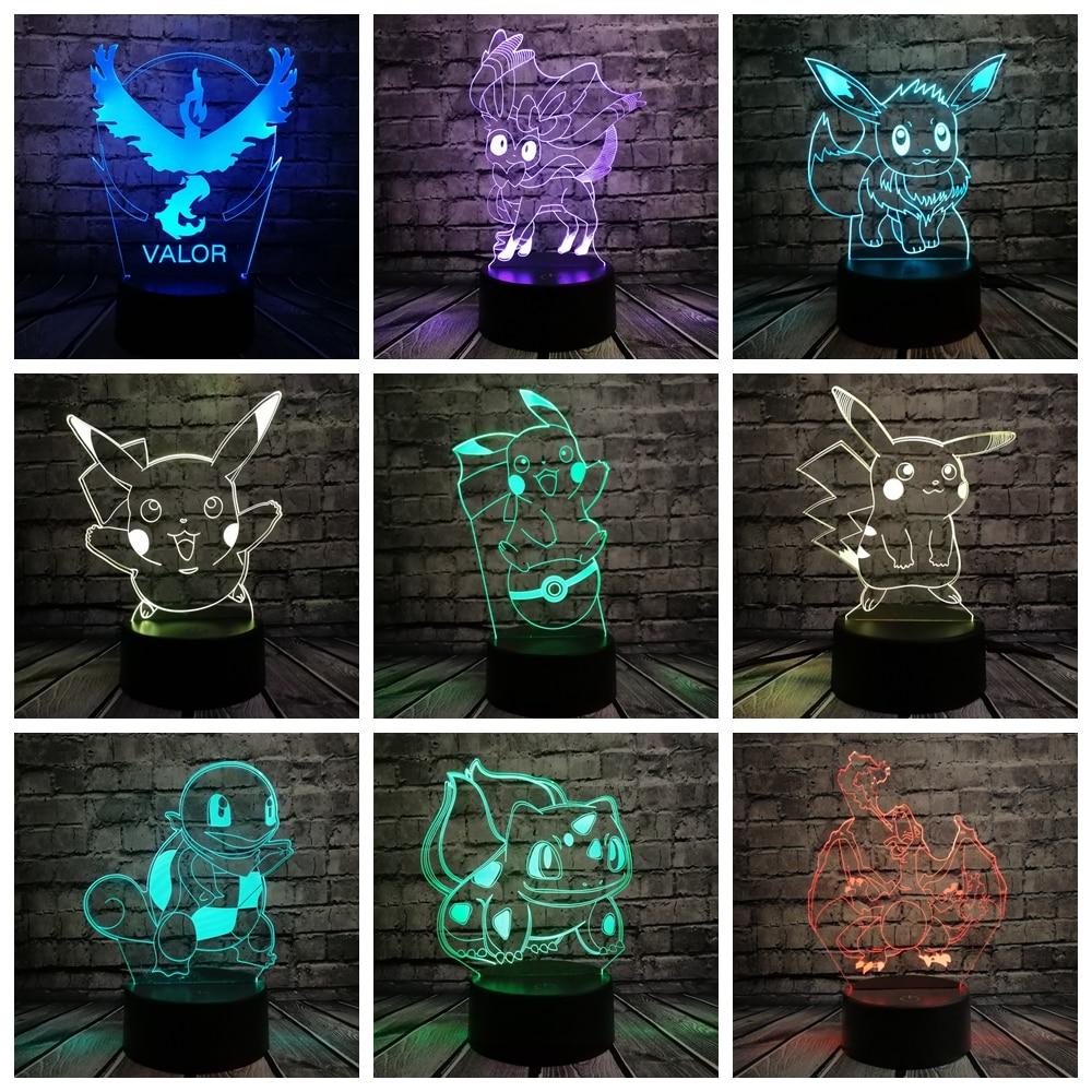Pokemon Go Action Figure 3D RGB Lamp Pikachu Eevee Turtle Bird Fire Dragon Pokeball Ball Bulbasaur Bay Role Gift Night Light LED