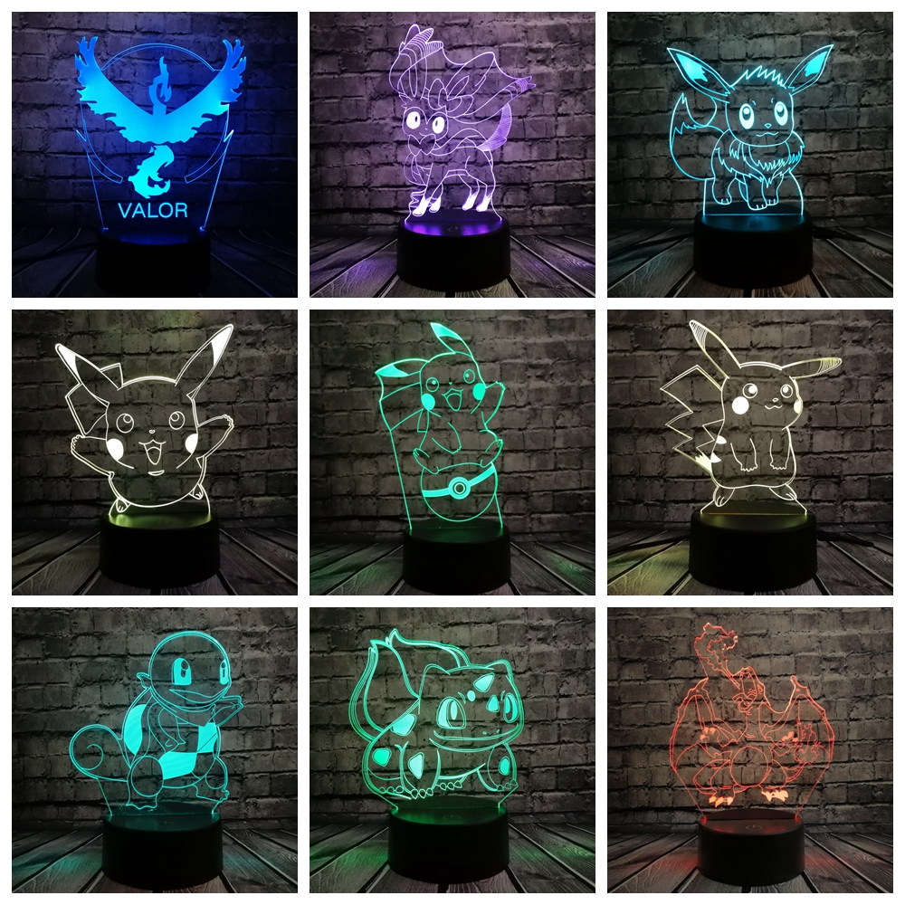 Pokemon Go Action Figure 3D RGB Lamp Pikachu Eevee Turtle Bird Fire Dragon Pokeball Ball Bulbasaur Bay Role Gift Night Light LED