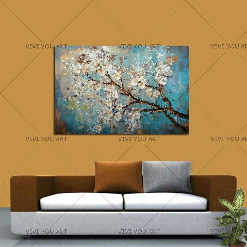 100% ručně velké květiny nástěnné obrazy domů dekorativní malba na plátně bílá švestka květ malby obývací pokoj dekor dárek