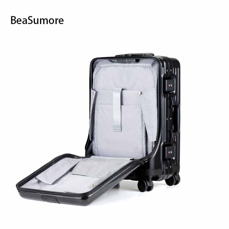 BeaSumore Front Laptop Aluminum Frame Rolling Luggage Spinner Men Business Suitcase Wheels 20 Inch Women Brand Cabin Trolley