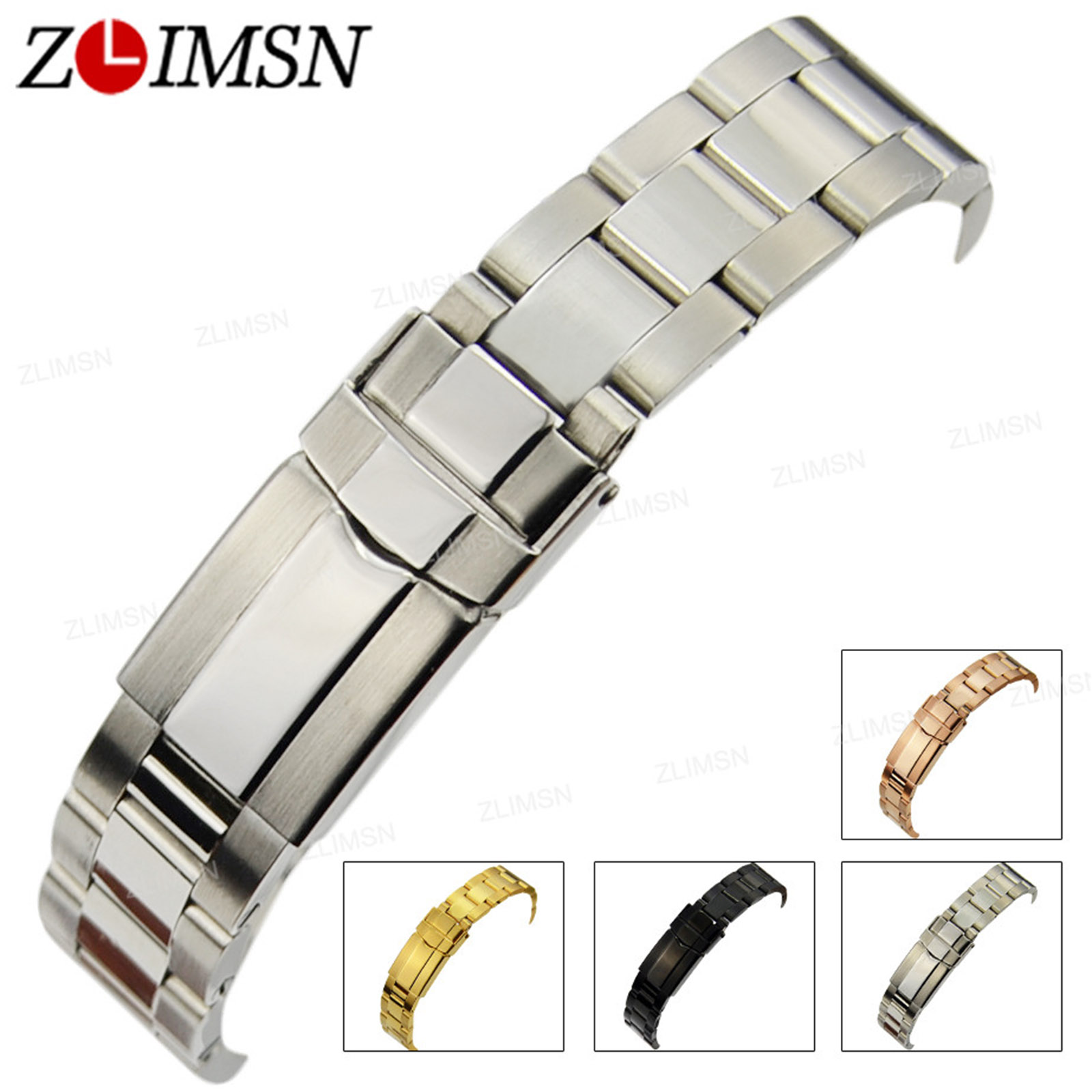 ZLIMSN Watch Strap 17mm 20mm Stainless Steel Watchband Curved End Bands Replacement Watches Accessories Relogio Masculino весы redmond rs m734