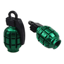 2PCS Grenade Alloy Valve Caps Dust Covers Bike Bicycle MTB BMX Tyre proof Style Bicycle Tire Valve Cap Wheel Dust Proof Cover(China)