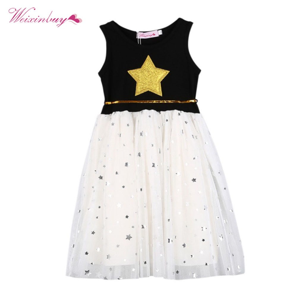 Summer Children Kids Baby Girls Dress Stars Sequins Tulle Dresses Bow Toddler Tutu Party Princess Dress