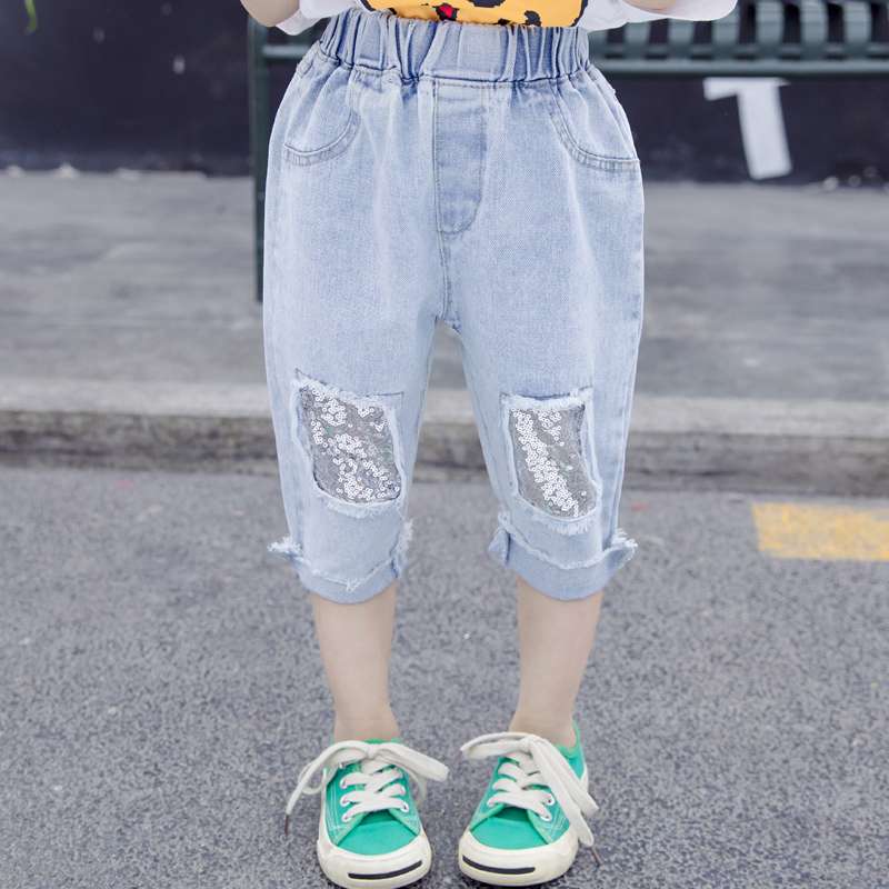 Spring Summer girls jeans baby denim trousers kids fashion pants children bottoms square sequin patch 2 to 7 yrs(China)