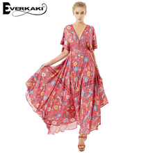 Everkaki Women Boho Dress 2017 Summer Long Dresses Floral Bird Print Pattern A-line Batwing Sleeve Dress V Neck  SpellDesigns