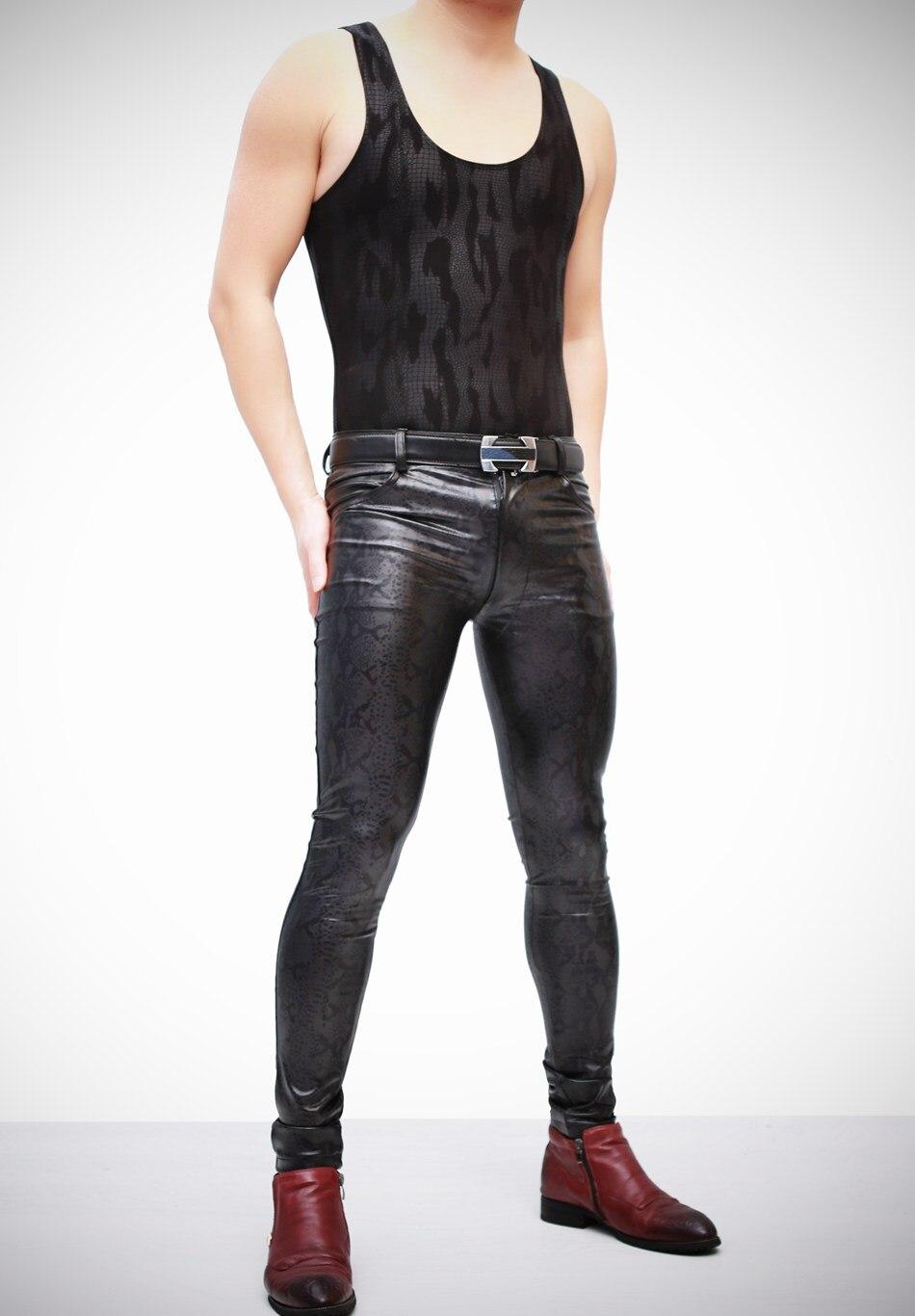 Ajustados Con Negro Serpiente Cuero Para Hombre Elásticos Elegante Atractivos Imitación Estampado Pantalones Nuevo De pgZxUwqZF