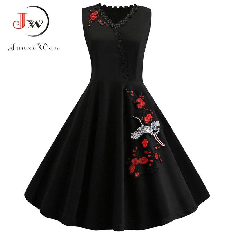 4XL Plus Size Dress Summer Women Elegent Embroidery Party Midi Dress Vintage V Neck Slim Dresses Vestidos