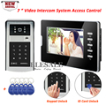 New Wired Video Door Phone System RFID Card Keypad Password Unlock For Home Intercom And Security 1 Camera 1 Monitor + 5Keyfobs