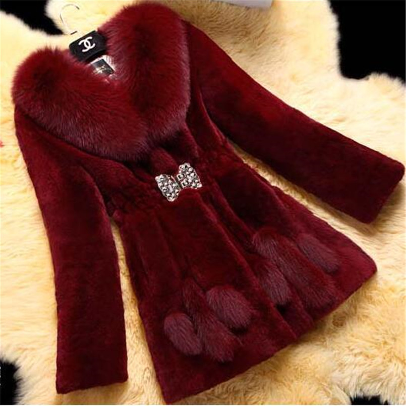 New Imitation Rex Rabbit Fur Coat Female Long Burgundy Black Slim Women Coat 6XL Thick Autumn Winter Fake Fur Coat Bontjas